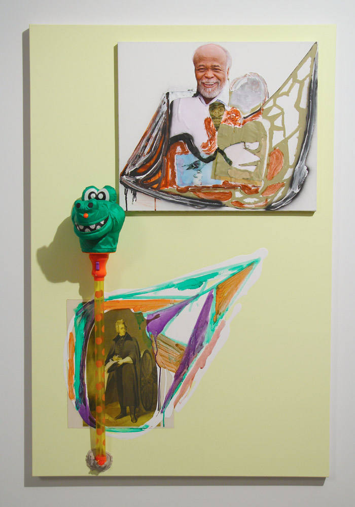 Drew Beattie, Chef le Chef, 2013. Acrylic, spray paint, collage, Bondo, liquid nails, water gun and stretched canvas on canvas. 60 x 40 x 9 in. Image courtesy of Hansel and Gretel Picture Garden.