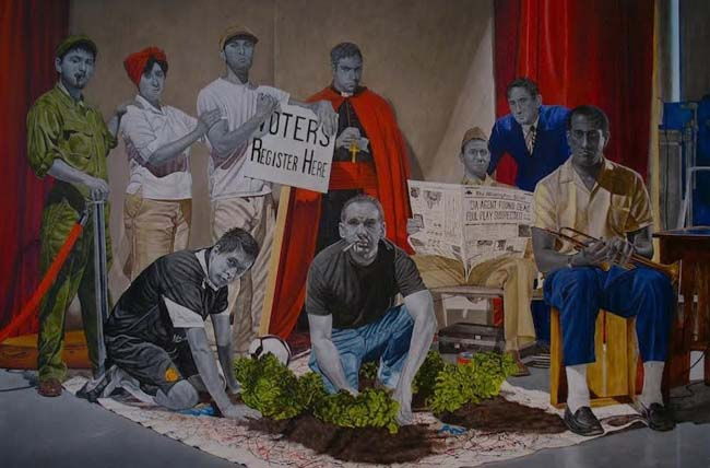 """The Great Society: A Work In Progress, oil and wax on linen on panel, 32"""" x 48"""" x 1.5"""", 2014."""