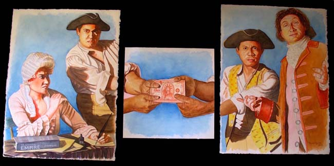 """Tug Of War, Triptych, 30"""" x 70"""", watercolor on Arches paper, 2016"""